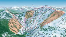 Lake Tahoe Alpine Meadows Ski Trail and Piste Map Front