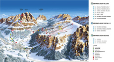 Cortina Ski Resort Piste Map, Faloria, Cristallo, Mietres Ski Areas