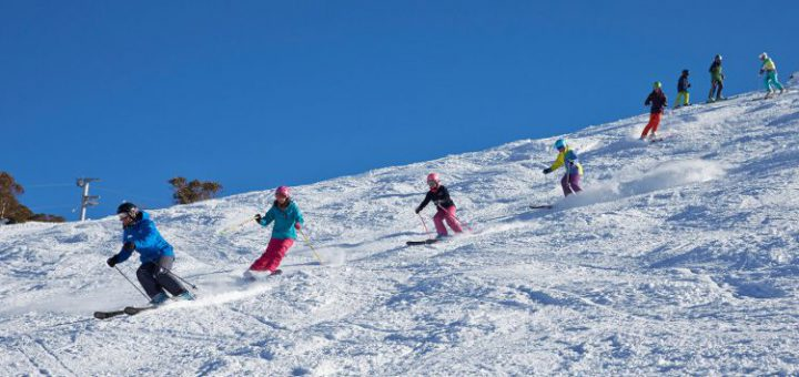 July family skiing in Perisher, Australia