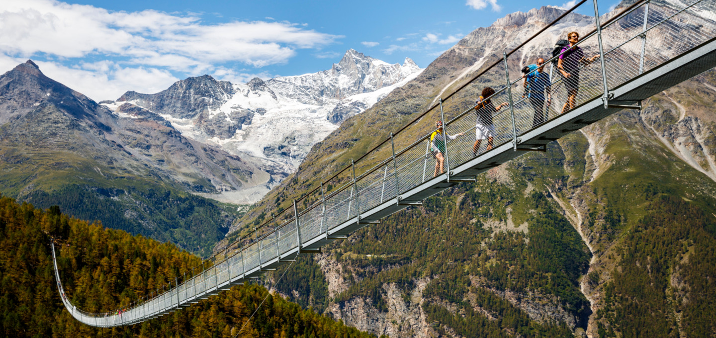 An alternative to ski lifts. Zermatt Suspension Bridge, Switzerland. Valentin Flauraud.